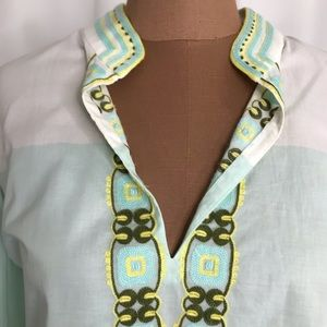 Tory Burch Color Block Embroidered Tunic Size 12